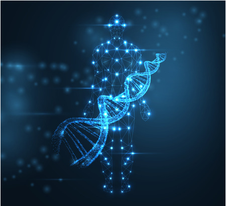 Blue abstract background with luminous DNA molecule, neon helix and human silhouette. Medical science, genetic, biotechnology, chemistry, biology. Vector poster.