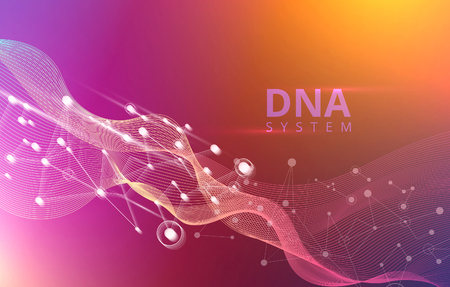 Abstract spectrum background with DNA molecules, gene system. Medical science, genetic, biotechnology, chemistry, biology. Vector poster.