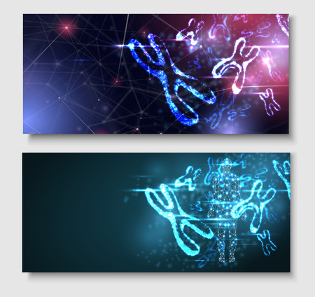 Abstract poster with luminous DNA molecule, neon female X chromosome. Medical science, genetic, biotechnology, chemistry, biology. Vector background.