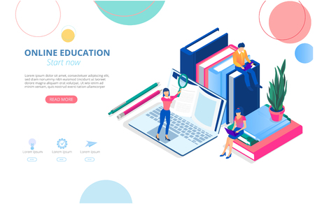Online education. Background or homepage template with laptop, books, people studying remotely and space for text. Distance and e-learning. Vector illustration, flat style.