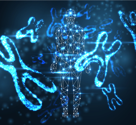 Blue abstract background with luminous DNA molecule, neon female X chromosome and human silhouette. Medical science, genetic, biotechnology, chemistry, biology. Vector illustration. Illustration