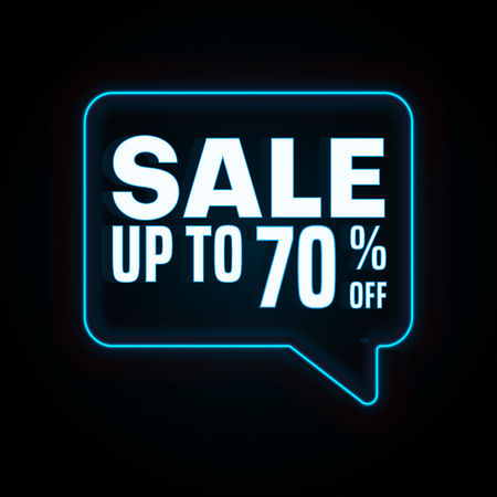 Sale up to 50% off. Black promo poster with blue neon speech bubble. Vector background.