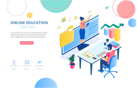 Online education. Background or homepage template with man studying remotely and space for text. Distance and e-learning. Vector illustration, flat style. 向量圖像