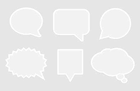 Set of isolated grey replica or speech bubble paper templates. Cartoon or comics, pop art flat style. Vector illustration.  イラスト・ベクター素材