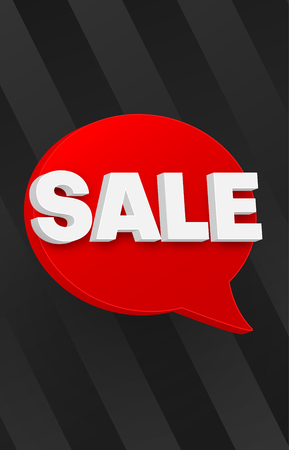 Black sale promo poster with red 3d speech bubble. Vector background.