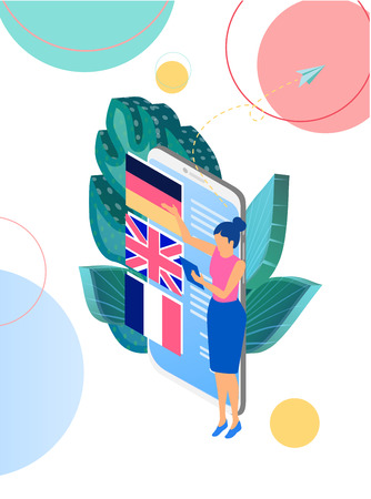 Language courses online. Background or homepage template with smartphone and woman studying remotely. Distance and e-learning. Vector illustration, flat style.