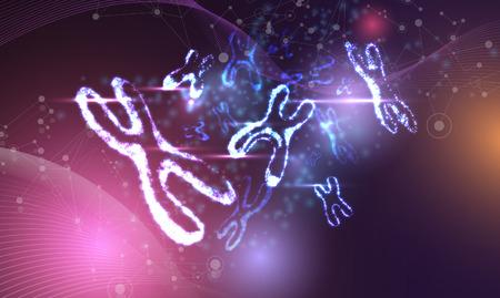 Abstraktes Poster mit leuchtendem DNA-Molekül, weibliches Neon-X-Chromosom. Medizin, Genetik, Biotechnologie, Chemie, Biologie. Vektor-Hintergrund.