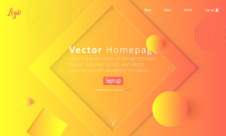 Orange and yellow spectrum web homepage template with icons and abstract geometric pattern. Creative futuristic design. Vector background. Vectores
