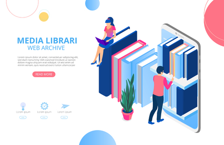 Media library, web archive. Homepage or landing page template with smartphone, books, people and space for text. Web tutorials, electronic textbook, distance learning. Vector background, flat style.