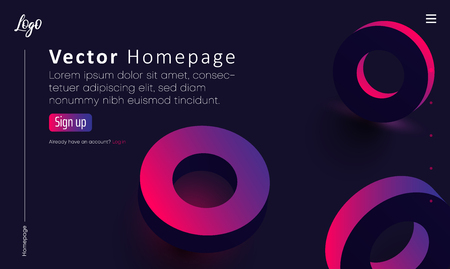 Purple web homepage template with icons and pink spectrum circles pattern. Creative webpage design. Vector background. Ilustração