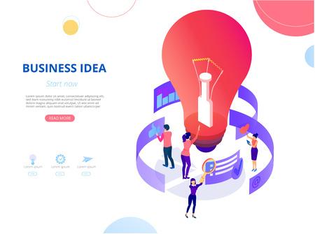 Idée d'entreprise et projet. Page d'accueil, page de destination ou modèle de conception de page Web avec icônes, ampoule et personnes. Démarrage, coaching d'entreprise. Fond de vecteur, style plat. Vecteurs