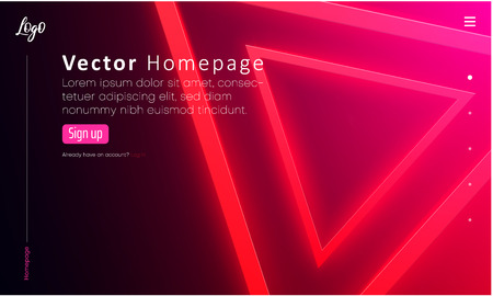 Web homepage template with icons and pink neon triangle pattern. Creative webpage design. Vector background.