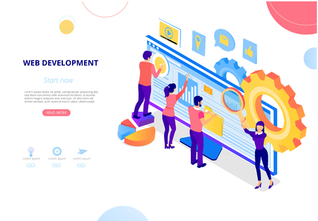 Web development. Landing page or homepage template with computer, people creating website. Computer technologies, IT, internet, web application programming and design. Vector, flat style.