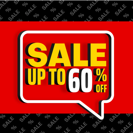 Sale up to 60% off. Red promo poster with speech bubble and colorful text. Vector background. Ilustracja