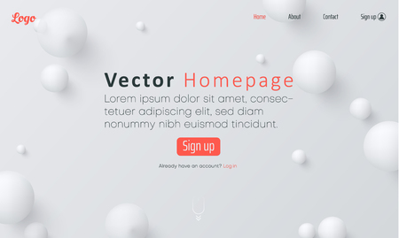 White web homepage template with icons and abstract balls pattern. Creative webpage design. Vector background. Vectores