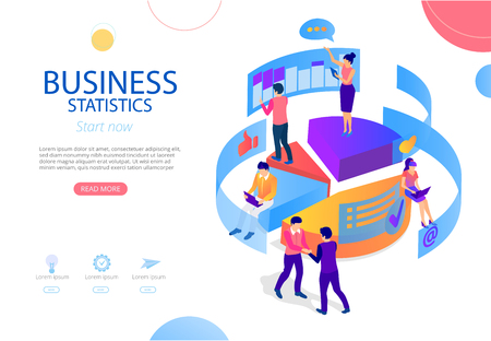 Business statistics, financial indicators and online analysis service. Homepage with people, charts and graphs. Presentation or webpage design template with buttons. Vector background, flat style.