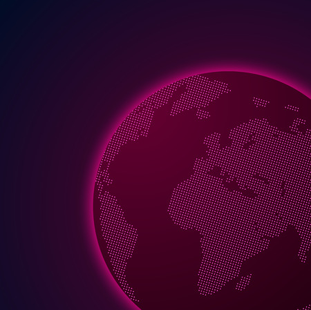 Pink abstract Earth planet. Shiny digital template. Global communications, location systems, internet and technology. Vector illustration.