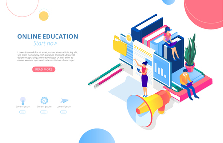 Online education. Background or homepage template with computer, people studying remotely and space for text. Distance and e-learning. Vector illustration, flat style. Vektoros illusztráció