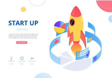 New business start up. Vector presentation or homepage template with rocket and digital charts and graphs, flat style. Teamwork, development, online technologies, smm, monetization and sales.