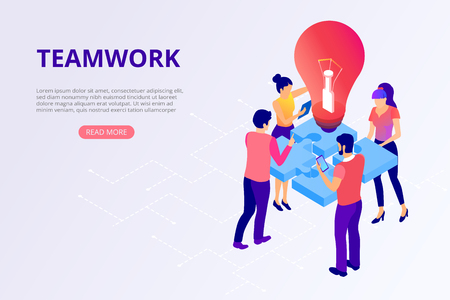 Teamwork, business cooperation. People work together, solve problems, assemble puzzle. Presentation, homepage or webpage design template. Vector background, flat style.