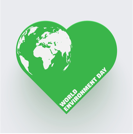 World environment day. Poster with green heart and planet Earth. Eco friendly concept. Vector background.
