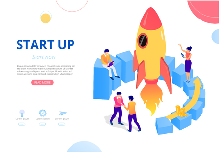 New business start up. Vector presentation or homepage template with people, money and rocket, flat style. Teamwork, development, online technologies, smm, monetization and sales.