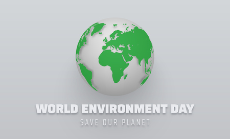 World environment day. Poster with green planet Earth. Eco friendly concept. Vector background. 일러스트