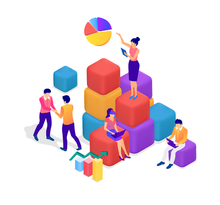 Teamwork, career, business cooperation, partnership, coaching and self development. People work together, communicate, search for solutions, increase efficiency. Vector illustration, flat style.