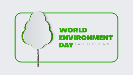 World environment day. White poster with green papercut tree. Eco friendly concept. Vector background.