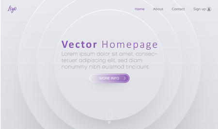 White web homepage template with buttons and abstract round geometric pattern. Creative webpage design. Vector background. Ilustración de vector