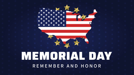 Memorial day. Remember and honor to heroes of America. Blue greeting poster with USA flag and map. Vector illustration.