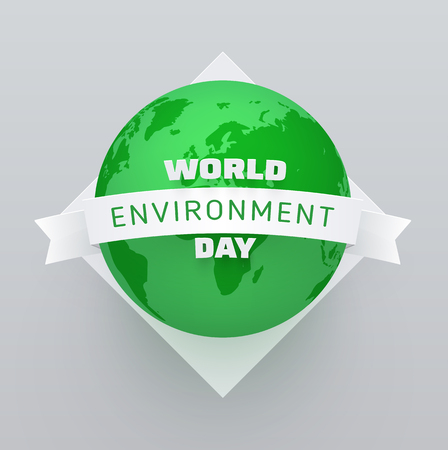 World environment day. Poster with green planet Earth. Eco friendly concept. Vector background.  イラスト・ベクター素材