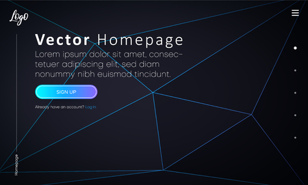 Black web homepage template with buttons and abstract geometric pattern. Creative webpage design. Vector background.