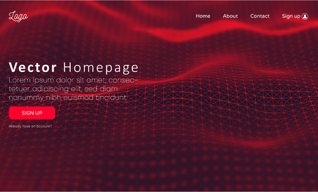 Web homepage template with buttons and red abstract digital network pattern. Creative webpage design. Vector background.