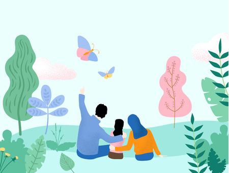 Hello spring. Hello summer. People spend weekend outdoors in park or forest. Happy family with child. Flat style design. Vector background.