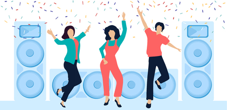 Party festive poster with happy dancing people, loudspeakers and confetti. Corporate, birthday, new year, friends meet, prom, disco, festival. Flat style design. Vector background. Çizim