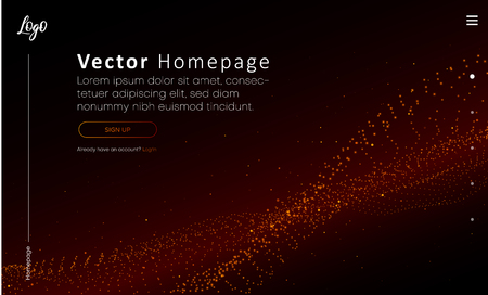 Web homepage template with buttons and red abstract digital pattern. Creative webpage design. Vector background.