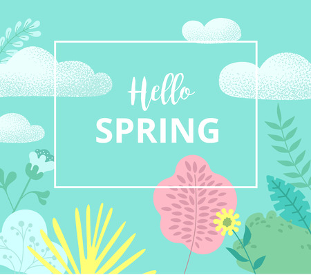 Hello spring. Green card or poster with abstract floral pattern. Flat style design. Vector background.