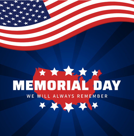 Memorial day. Always remember heroes of America. Blue greeting card with USA flag and map. Vector illustration.