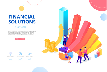 Soluciones financieras para empresas, contabilidad, auditoría, crédito, banca online. Plantilla de diseño de página de inicio, presentación o página web con gráfico, crecimiento de dinero y personas. Fondo de vector, estilo plano.