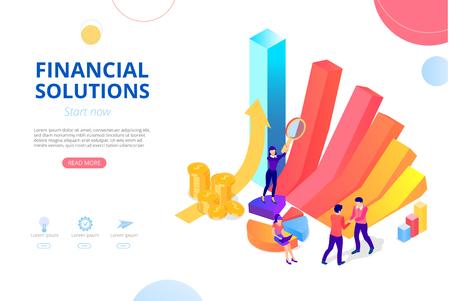 Solutions financières pour entreprise, comptabilité, audit, crédit, banque en ligne. Modèle de conception de page d'accueil, de présentation ou de page Web avec graphique, croissance de l'argent et personnes. Fond de vecteur, style plat.