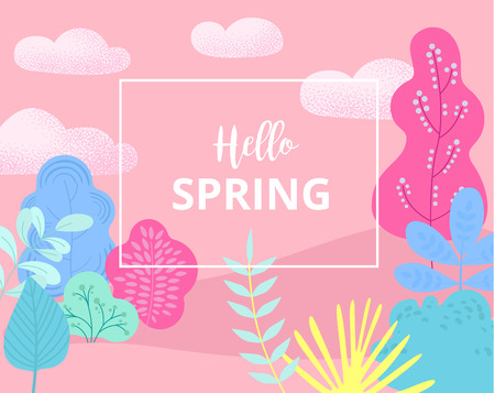 Hello spring. Pink card or poster with abstract floral pattern. Flat style design. Vector background. Imagens - 122805339
