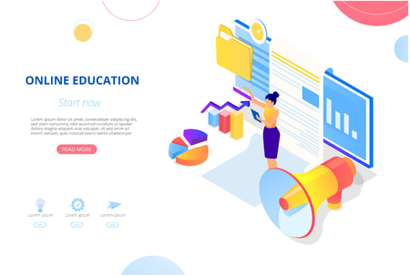 Online education. Background or homepage template with computer, woman studying remotely and space for text. Distance and e-learning. Vector illustration, flat style. 向量圖像