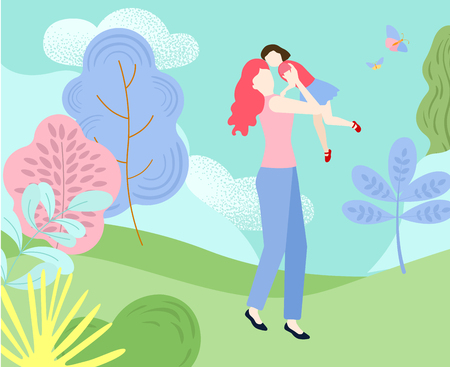 Hello summer. Mother with daughter spend weekend outdoors in park. Happy family are walking. Flat style design. Vector background.
