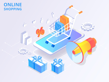 Online store, shopping, online payment. Homepage template with 3d smartphone, goods and shopping cart. Vector background.  Illustration