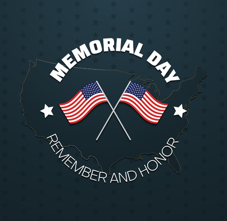 Memorial day. Remember and honor to heroes of America. Greeting poster with USA flags on background with stars. Vector illustration.