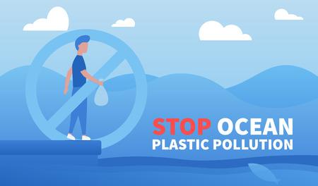 Stop ocean plastic pollution. Environmental protection, eco-friendly consumption. Info poster, flat style. Vector background.  Ilustração