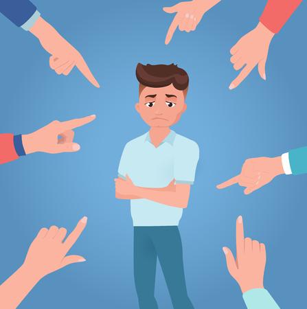 El hombre o el niño es regañado, castigado, condenado, ordenado. Persona molesta o culpable sobre fondo azul con manos de oponentes. Sentir incómodo. Emociones humanas. Ilustración de vector de estilo plano.