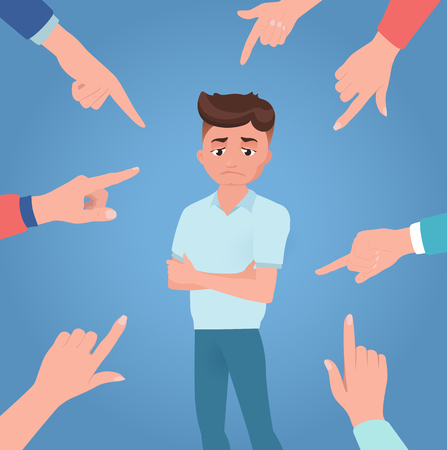 Man or boy is scolded, punished, condemned, ordered. Upset or guilty person on blue background with hands of opponents. Feel uncomfortable. Human emotions. Vector illustration, flat style.