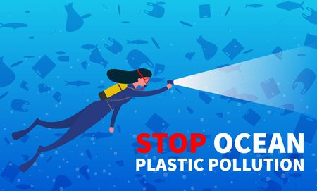 Stop ocean plastic pollution. Environmental protection, eco-friendly consumption. Promo poster with scuba diver and underwater rubbish. Vector background.